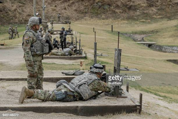 Combine Force take part in an annual best warrior competition at US military base Camp Casey in Dongducheon South Korea on 12 April 2018 The US 2nd...