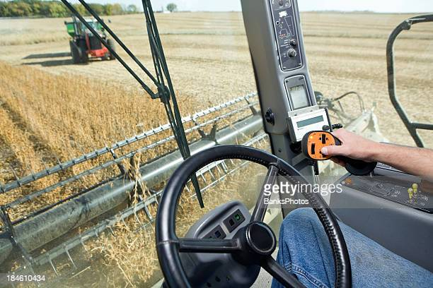 Combine Harvesting Soybeans from Operator's Cab