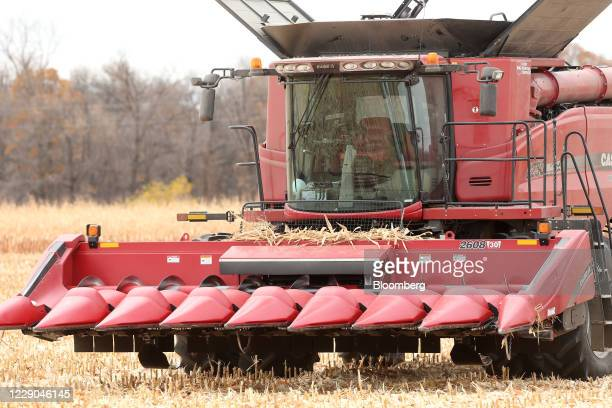 A combine in a corn field during a harvest at a farm near Carman Manitoba Canada on Saturday Oct 10 2020 Costs of staples slumped at the start of the...