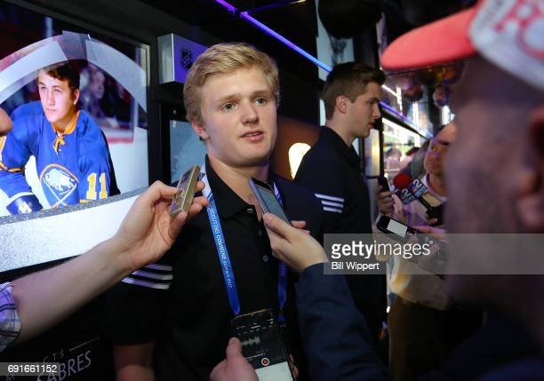 Combine Top Prospect Casey Mittelstadt speaks to the media at the NHL Centennial Fan Arena Museum at KeyBank Center on June 2 2017 in Buffalo New York