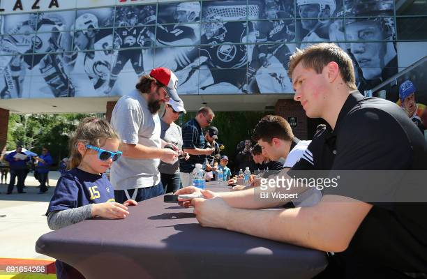 Combine Top Prospect Michael Rasmussen signs autographs at the NHL Centennial Fan Arena at KeyBank Center on June 2 2017 in Buffalo New York