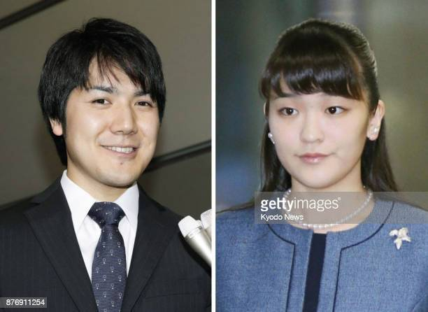 Combined file photo shows Japanese Princess Mako the eldest granddaughter of Emperor Akihito and her longtime boyfriend from university days Kei...