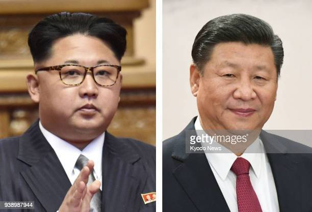 Combined file photo shows North Korean leader Kim Jong Un and Chinese President Xi Jinping who held a summit in Beijing on March 26 according to...