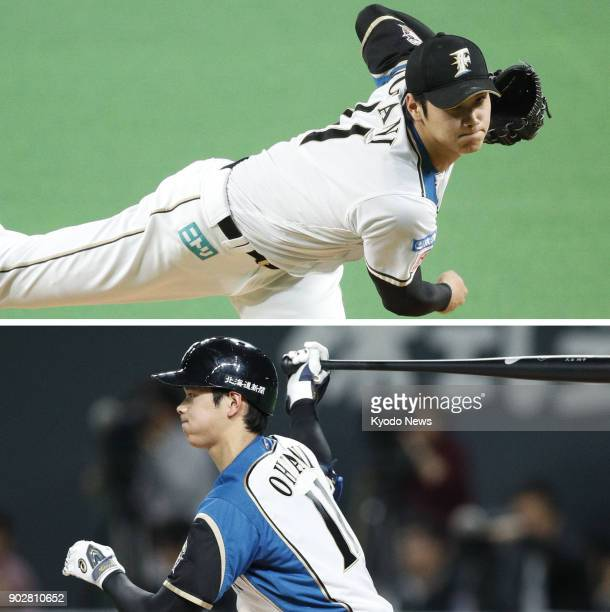 Combined file photo shows Shohei Ohtani pitching and hitting cleanup for the Nippon Ham Fighters against the Orix Buffaloes at Sapporo Dome on Oct 4...