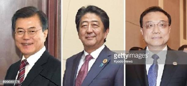 Combined file photo shows South Korean President Moon Jae In Japanese Prime Minister Shinzo Abe and Chinese Premier Li Keqiang Japan has proposed to...