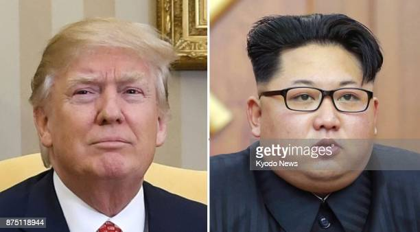 Combined file photo shows US President Donald Trump and North Korean leader Kim Jong Un Trump said on Nov 16 2017 that China's decision to send Song...