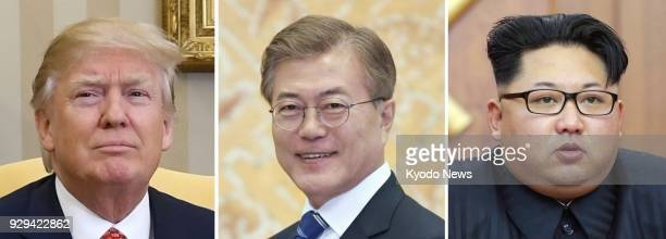 Combined file photo shows US President Donald Trump South Korean President Moon Jae In and North Korean leader Kim Jong Un Trump said South Korea...