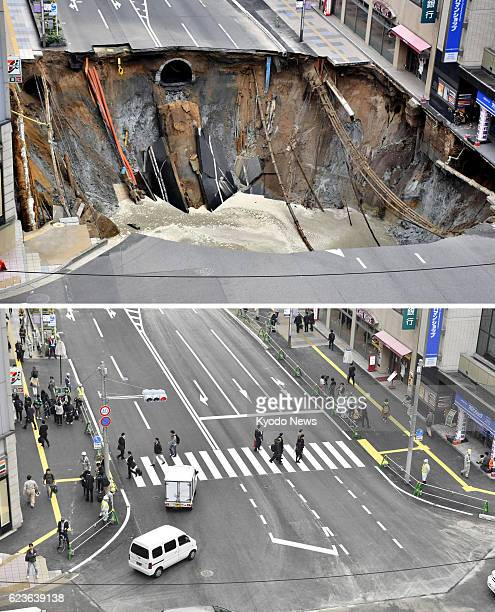 Combined photo shows a huge sinkhole on a major road near JR Hakata Station in the southwestern Japan city of Fukuoka on Nov 8 and the road reopening...