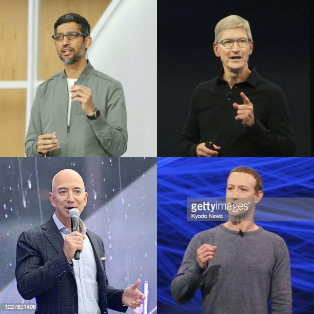 Combined photo shows CEOs Sundar Pichai of Google LLC, Tim Cook of Apple Inc., Mark Zuckerberg of Facebook Inc. And Jeff Bezos of Amazon.com Inc.