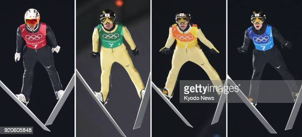 Combined photo shows Japanese ski jumpers Taku Takeuchi Daiki Ito Noriaki Kasai and Ryoyu Kobayashi soaring through the air in the first round of the...