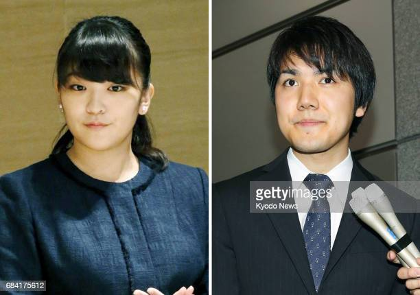 Combined photo shows Japan's Princess Mako the first grandchild of Emperor Akihito and her boyfriend and soontobe fiance Kei Komuro The Imperial...