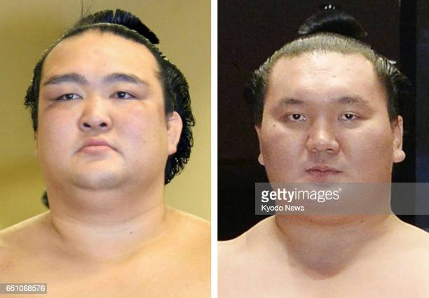 Combined photo shows Kisenosato and Hakuho All four grand champions will be competing in the elite makuuchi division for the first time in 17 years...
