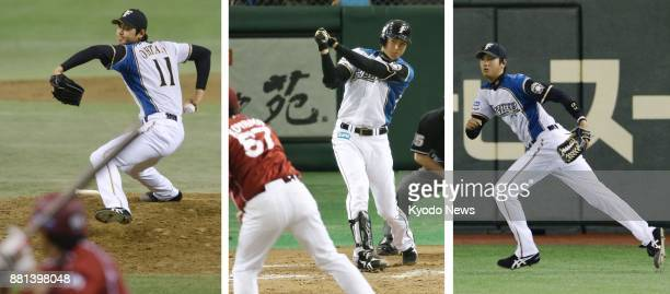 Combined photo shows Nippon Ham Fighters' Shohei Otani making his debut as a twoway talent in a game against the Rakuten Eagles at Tokyo Dome in...