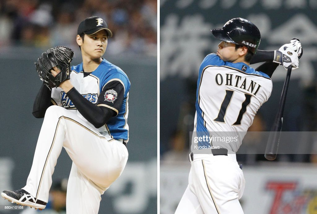 Combined photo shows Nippon Ham Fighters two-way player Shohei Otani pitching and hitting in a game against the Orix Buffaloes at Sapporo Dome on Oct. 4, 2017. Otani should be fit to do both without any restrictions in about three months after having successful surgery on his right ankle in Tokyo on Oct. 12, the Fighters said. Otani is expected to move to the major leagues for the 2018 season via the posting system. ==Kyodo