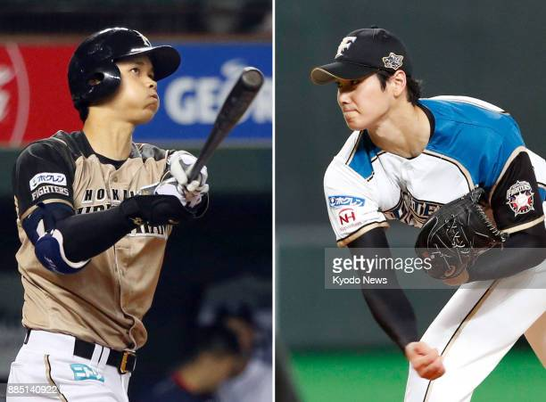 Combined photo shows Nippon Ham Fighters twoway star Shohei Otani hitting at MetLife Dome on Sept 8 and pitching at Sapporo Dome on Sept 12 2017...
