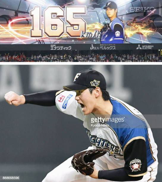 Combined photo shows Shohei Ohtani of the Nippon Ham Fighters throwing a 165 kilometerperhour fastball and a large screen displaying the pitch speed...