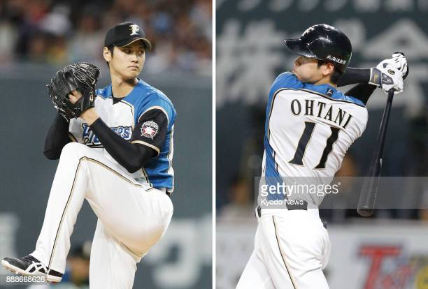 Combined photo shows Shohei Ohtani of the Nippon Ham Fighters pitching and hitting against the Orix Buffaloes at Sapporo Dome on Oct 4 the first time...