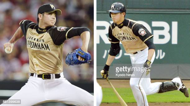 Combined photo shows sluggerpitcher Shohei Otani of the Nippon Ham Fighters in action against the Hiroshima Carp at the Mazda Stadium in Hiroshima on...