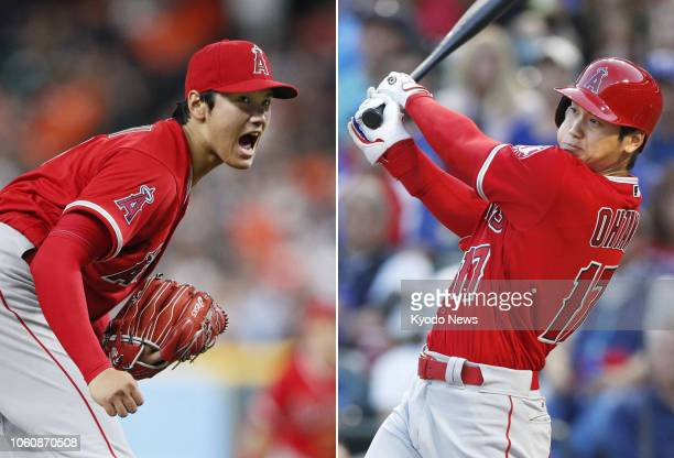 Combined photo shows twoway player Shohei Ohtani of the Los Angeles Angels pitching against the Houston Astros on April 24 in Houston Texas and...