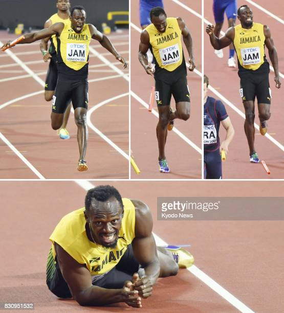 Combined photo shows Usain Bolt of Jamaica failing to finish with a hamstring injury on the anchor leg of the men's 4x100meter relay final at the...