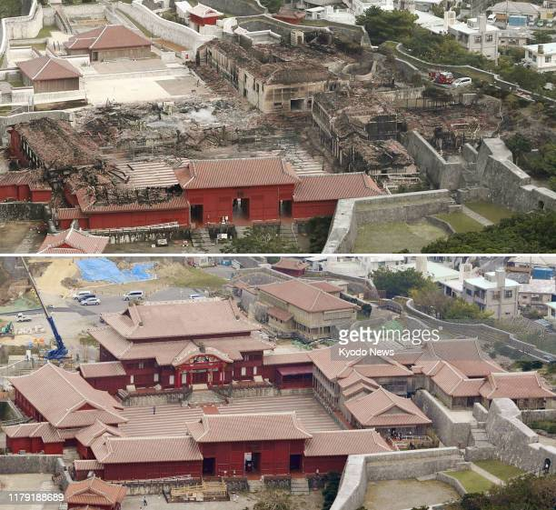 Combined photo taken from a Kyodo News helicopter shows Shuri Castle in Naha Okinawa Prefecture southern Japan after a predawn fire on Oct 31 2019...