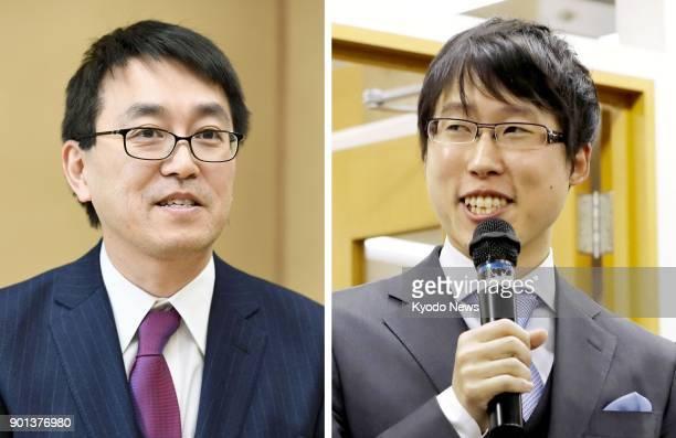 Combined photo taken Jan 5 shows shogi champion Yoshiharu Habu in Tokyo and Go champion Yuta Iyama in Osaka after the Japanese government decided to...