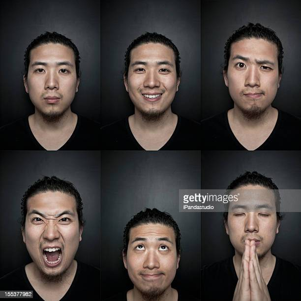 Combined portraits of asian man