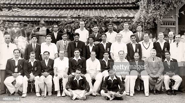 A combined team photograph featuring the Commonwealth touring team with Pakistan during their match at Calcutta on 26th November 1949 The captain of...