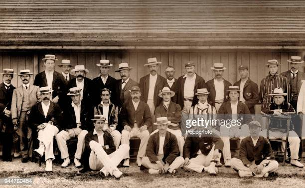 A combined team photograph featuring the Gloucestershire team with the The Australians before their tour match at Bristol 14th July 1902 Many of the...
