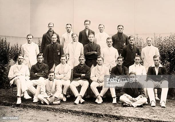 Combined team photograph of the Oxford and Cambridge University cricket teams prior to the annual Varsity match at Lord's cricket ground in London on...