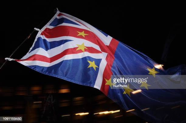 A combined UKEU flag is flown opposite the Houses of Parliament in London England on January 29 2019 In the Commons on a day of significant...