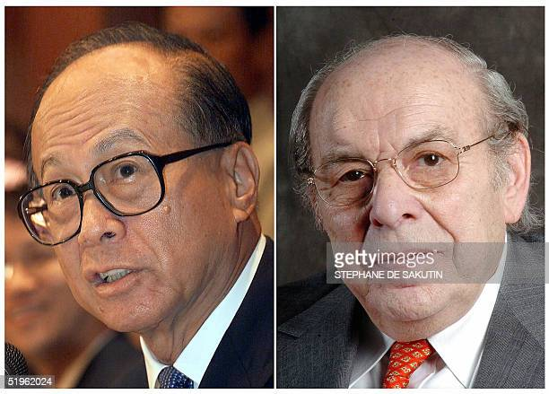 Combo dated 14 January 2005 of recent pictures of Hutchison Whampoa chairman of Chinese Li Ka Shing and French Marcel Frydman chairman of the French...