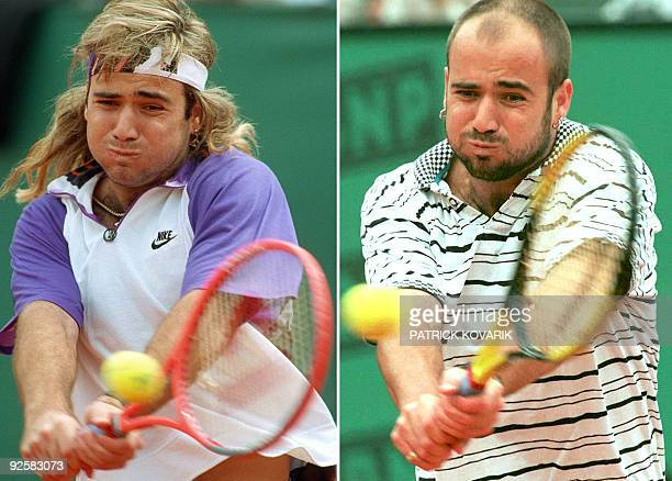 A combo image of US tennis player Andre Agassi at the Men's French Open finals on June 9 1991 and four years later during a thirdround match on June...