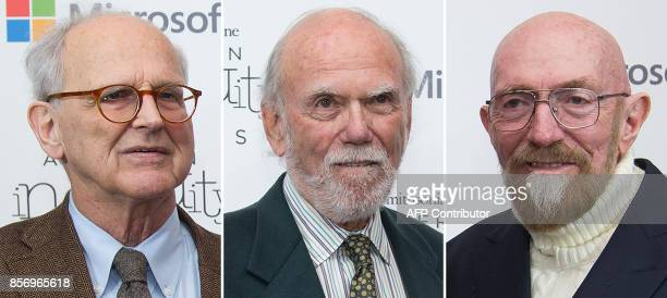A combo made October 3 2017 of file photos taken on December 09 2016 in Washington shows Rainer Weiss Barry Barish and Kip Thorne who won the Nobel...