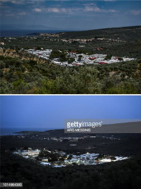A combo made on August 11 2018 shows a general view of the Moria migrant camp in Mytilene taken on August 5 2018 and the same picture taken two years...