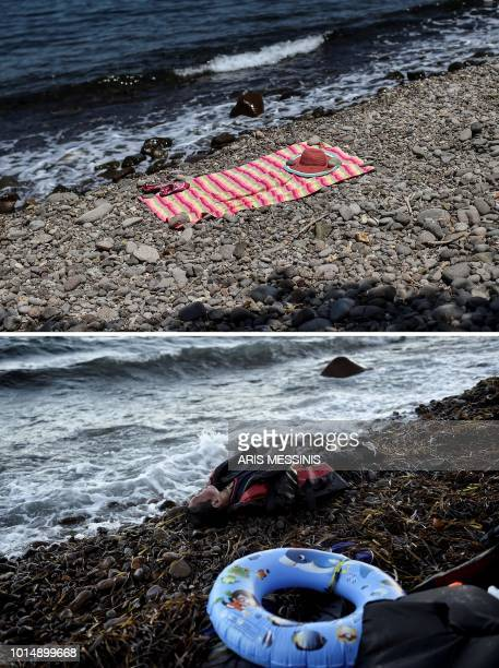 A combo made on August 11 2018 shows belongings of a bather on a beach near the village of Skala Sykamineas on the Greek island of Lesbos on August 3...