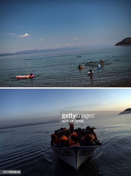 TOPSHOT A combo made on August 11 2018 shows people enjoying the sea at a beach near the village of Skala Sykamineas on the island of Lesbos on...