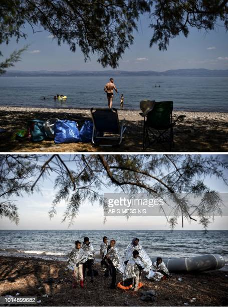 TOPSHOT A combo made on August 11 shows a man enjoying the Kagia beach near the village of Skala Sykamineas on the Greek island of Lesbos on August 3...