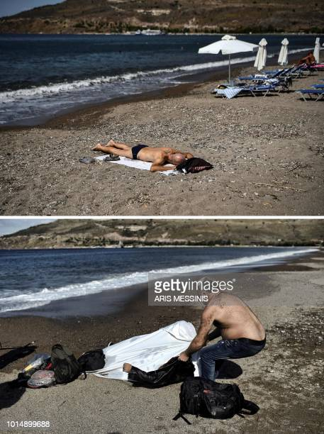 TOPSHOT A combo made on August 11 shows a man sunbathing on a beach in the village of Petra on the Greek island of Lesbos on August 3 2018 and a...