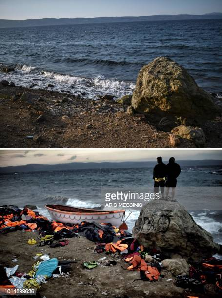 A combo made on August 11 shows a view of a beach near the village of Skala Sykamineas on the Greek island of Lesbos on August 3 2018 and at the same...