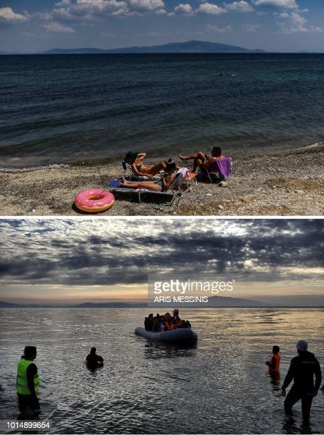 A combo made on August 11 shows people enjoying the sun on the beach in Mytilene on the Greek island of Lesbos on August 3 2018 and migrants arriving...