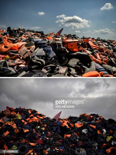 A combo made on August 11 shows thousands of life jackets used by refugees and migrants during their journey across the Aegean sea lying in a dump in...