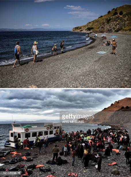 A combo made on August 11 shows tourists walking on a beach near the village of Skala Sykamineas on the Greek island of Lesbos on August 3 2018 and...