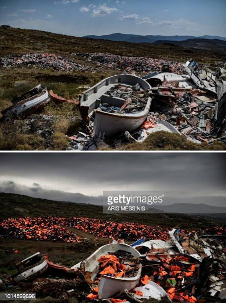 A combo made on August 11 shows wrecked boats and thousands of life jackets used by refugees and migrants during their journey across the Aegean sea...