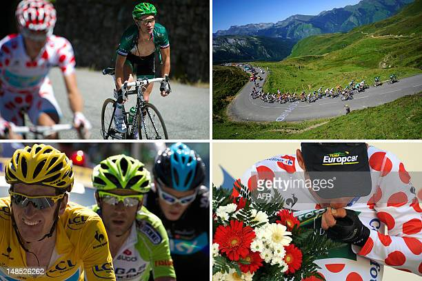 A combo made on July 18 2012 in BagneresdeLuchon southern France shows From top LtoR stage winner and new polka dot jersey of best climber France's...