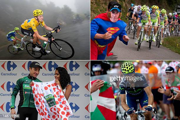 A combo made on July 19 2012 in Peyragudes shows From top LtoR Overall leader's yellow jersey British Bradley Wiggins riding in a downhill a fan...