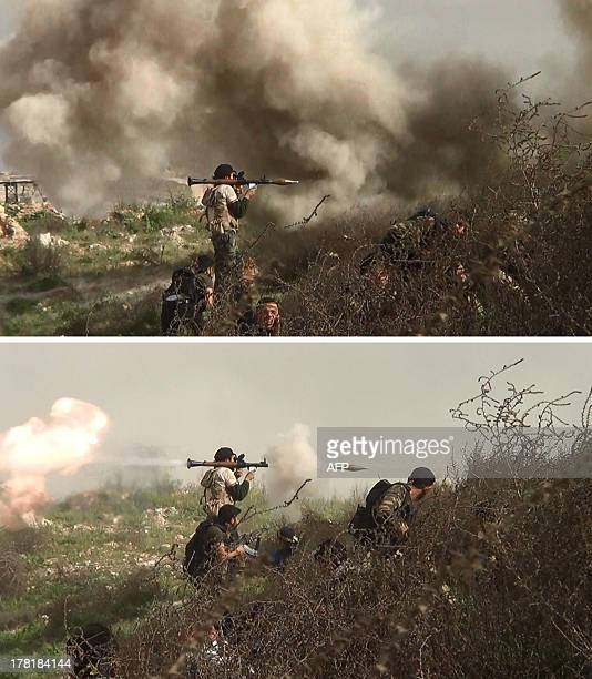 Combo made up of image grabs taken from a video shows opposition fighters taking cover from an attack by regime forces and then retaliating by firing...