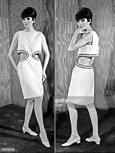 Combo of a model displaying a cocktail dress in shantung orange waist openings embroidered with sequins and strass back free 18 February 1966 for...