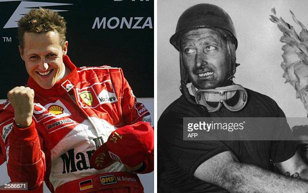 Combo of a picture of German Ferrari driver Michael Schumacher on the podium of the Monza racetrack, 14 September 2003, after winning the Italian...