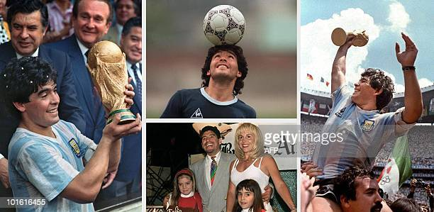 Combo of Argentine football legend Diego Maradona at the peak of his career, displaying the World Soccer Cup won in Mexico 86 , during a training...